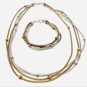 🆕 Sterling silver necklace / bracelet set, Italy
